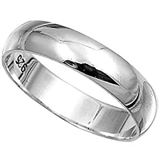 Men's 925 Solid Sterling Silver Polished 4mm wide band ring in sizes G-Z (S)