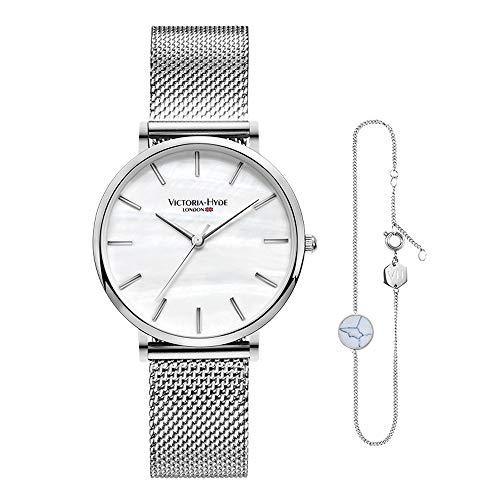 VICTORIA HYDE Silber Damen Quarz Uhren Armreifen Set Edelstahl