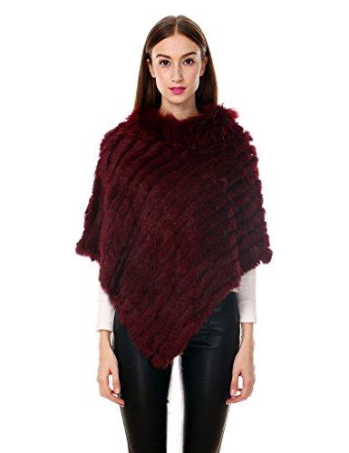 Ferand - poncho elegante mantella casdo inverno a maglia in pelliccia vera di coniglio con colletto in pelliccia di procione - donna - taglia unica - bordeaux