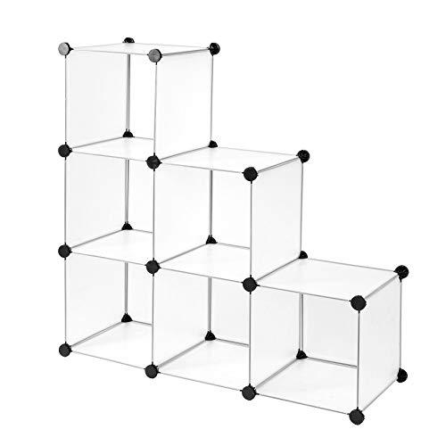dibea Steckregal aus Kunststoff, Schuhregal, Aufbewahrungsregal, modulares System mit 6 Fächern, 30 x 30 cm