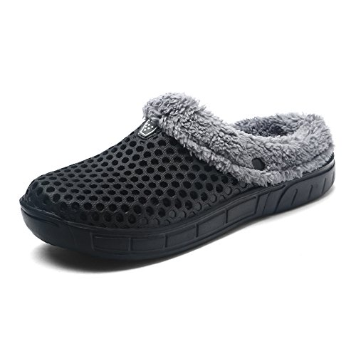 Jackshibo uomo ragazze caldo pantofole invernali antiscivolo scarpe da casa confortevoli pantofole domestiche,nero,eu44