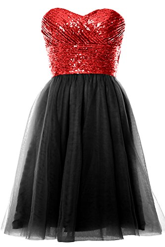 MACloth Women Strapless Cocktail Dress Sequin Short Wedding Party Formal Gown Red-Black