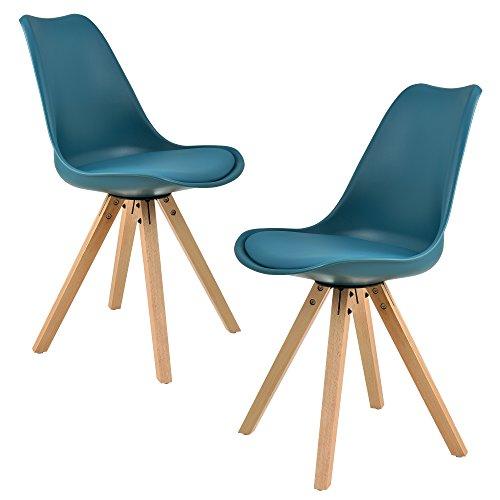 [en.casa] 2x sillas de comedor color turquesa tapizadas - sillas de cocina de cuero sintético