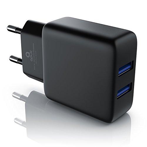 CSL - 2A Cargador de red USB 2 Puertos | Fuente de alimentación | bloque de alimentación USB | Adaptador de Corriente para iPhone X/8/7/iPad Air/Pro/Samsung Galaxy/HTC/Nexus y otros | Negro