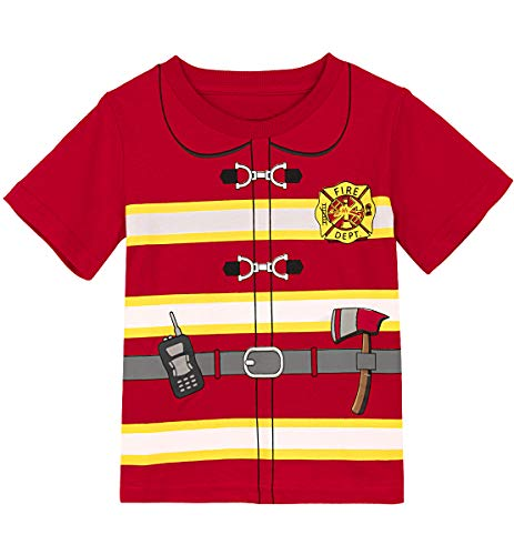 MOMBEBE COSLAND Feuerwehrmann T-Shirt Jungen Baumwolle Kostüm (98/3 Jahre, Rot)