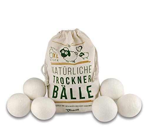 VITULOS 6er Pack natürliche Trocknerbälle - 6 extragroße Trocknerkugeln aus Schafwolle für - Trockner Tennisbälle Daunen