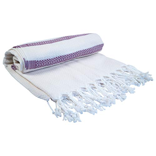 Salti Handgewebtes Strandhandtuch - Hochwertiges Saunatuch aus 100% Bio-Baumwolle - Ultraleichtes Strandlaken (Weiß/Lila)