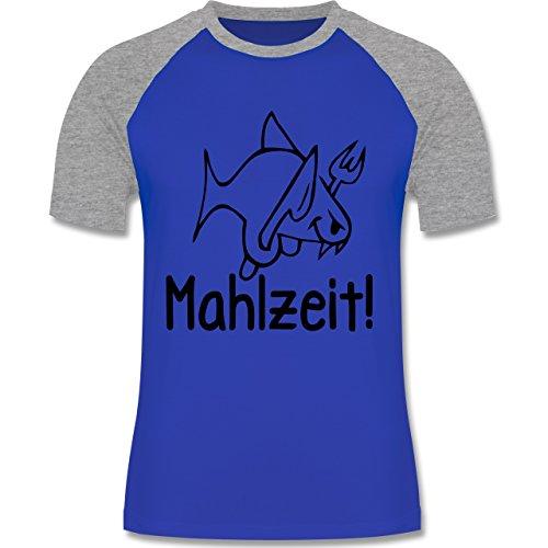 Küche - Mahlzeit - zweifarbiges Baseballshirt für Männer Royalblau/Grau meliert