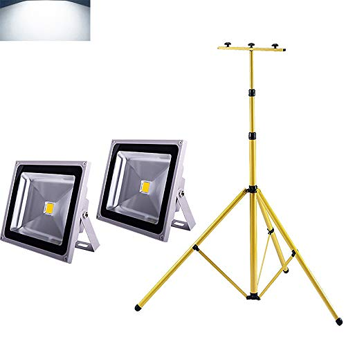 MCTECH LED Strahler Baustrahler 2 * 50W mit Stativ - IP65 Fluter Floodlight innen außen (2x50W Kaltweiß+Stativ)