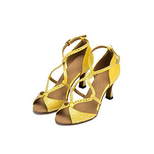 Minitoo chaudes pour femme en Satin pour mariage fête Sandales Cha Cha Latin Chaussures de danse Giallo (giallo)