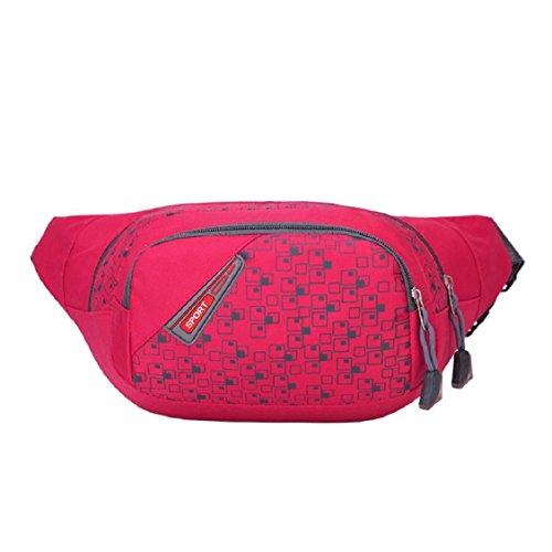 [Sport Hüfttasche] OverDose Läuft Teufel Tasche Travel praktisch Wandern Sport Gürteltasche Taille Gürteltasche Zip A-Hot Pink