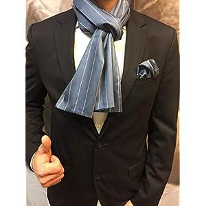 Exklusiver Herren Schal mit passendem Einstecktuch in Blau Gestreift Baumwoll Satin