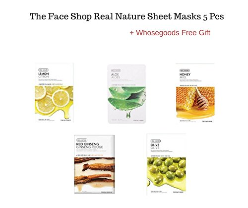 The Face Shop Real Nature sheet masks 5 pieces + FREE GIFT (Olive, Red Ginseng,Lemon,Honey,Aloe)