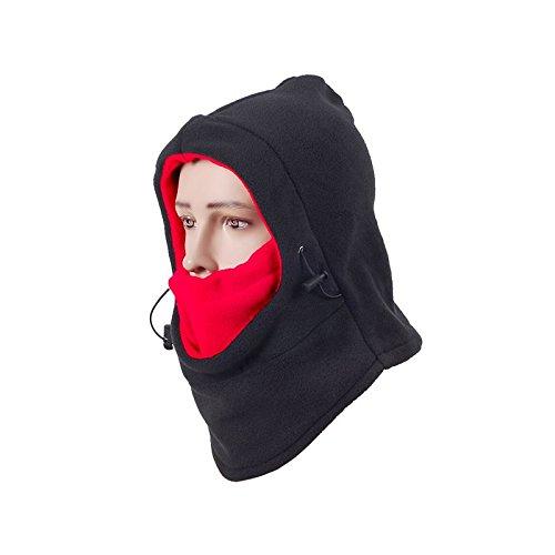 Maschera Da Sci Antivento - Maschera Per Il Viso Per Clima Freddo Per Moto Scaldacollo e Passamontagna Tattico - Massimo Isolamento Termico All'Aperto Super Confortevole (Nero+Rosso)