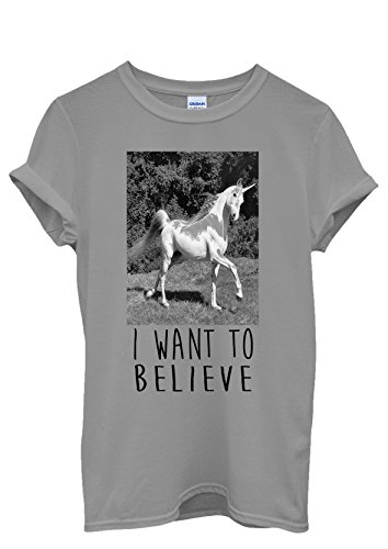 I Want To Believe Unicorn Crazy Men Women Damen Herren Unisex Top T Shirt Grau