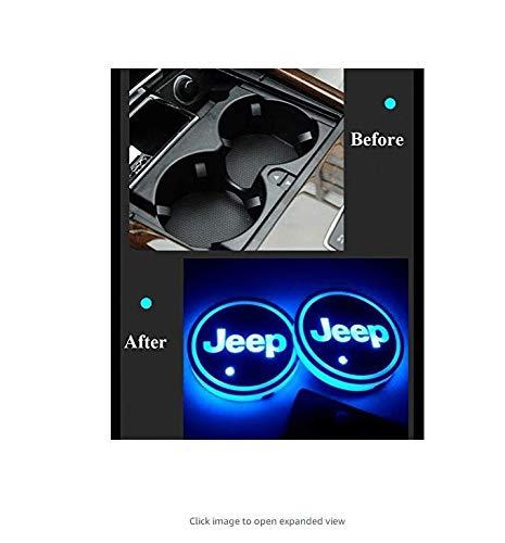 ephvan - Tappetino per portabicchieri con Logo a LED per Auto, 7 Colori cangianti, Tappetino di Ricarica USB a LED, Decorazione per Auto, 2 Pezzi (per Jeep)