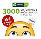WhatsApp SIM Prepaid [SIM, Micro-SIM, Nano-SIM] - Starterpaket mit 15 EUR Guthabenwert, ohne Vertragsbindung, Option mit 2000 Einheiten (MB/MIN/SMS), Surf-Geschwindigkeit: 21,6 MBit/s LTE