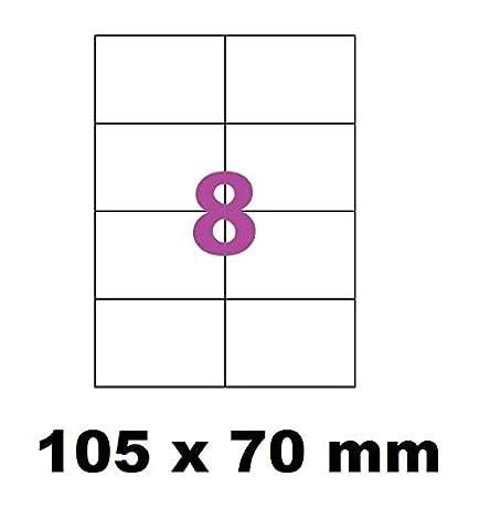 400 Étiquettes 105 x 70 mm soit 50 feuilles de 8 Étiquettes blanches adhésives personnalisables . étiquettes 10.5 x 7 cm autocollantes pour imprimante jet d'encre et Impression laser .étiquette utilisable sur logiciels avec code Herma
