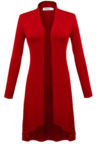 Meaneor Damen Maxi Cardigan Jerseymantel Strickjacke Geometrische Irregular Lose Pullover Mantel Offen Loose Fit Baumwolle , Rot - EU 40(Herstellergröße: L) Rot Damen Mantel