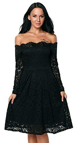 EOZY Robe Femme Épaule Nu Lace Floral Opaque Manche Longue Soirée Noir