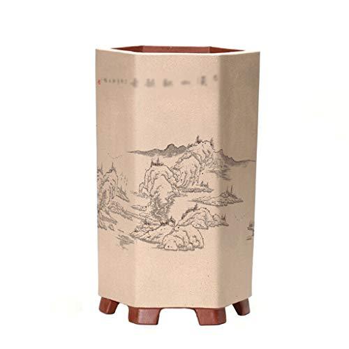 Liudan Garten Blumentöpfe Chinesischen Stil Landschaftsmalerei handgemalte Bonsai Blumentopf Für Balkon Bodendekoration Retro Grünpflanze Blumentopf Pflanzengefäße & Gefäßzubehör