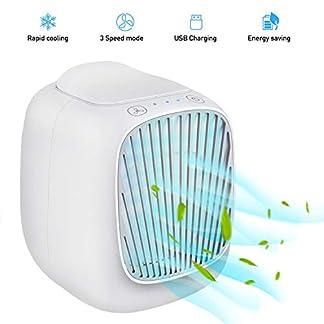 Hisome Aire Acondicionado Móvil, 3 en 1 Portátil Mini USB Ventilador Humidificador Purificador Climatizador Evaporativo, con 3 Velocidades de Viento para Casa/Oficina, Leakproof