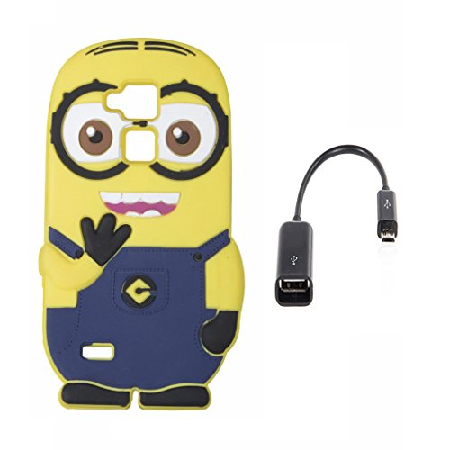 Double Eye Cute Despicable Me Minion Silicone Back Cover For Huawei Ascend Mate 7 With Free OTG Cable  available at amazon for Rs.499