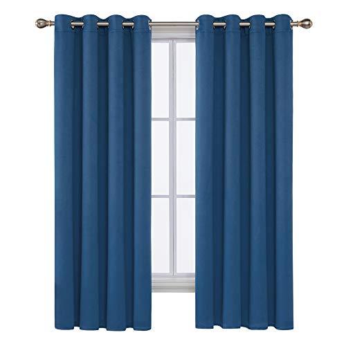 Deconovo tende finestre oscuranti per interni termiche isolanti con occhielli per camera da letto 132x183cm 2 pannelli blu acciaio