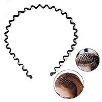 S SIFUNUO Unisex Black Spring Wavy Metal Hair Hoop Band Men Women Sports Headband Headwear Accessories