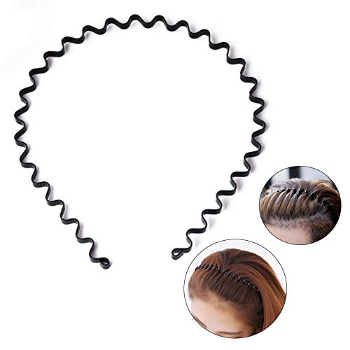 S SIFUNUO Unisex-Haarband aus Metall, gewellt, Schwarz -