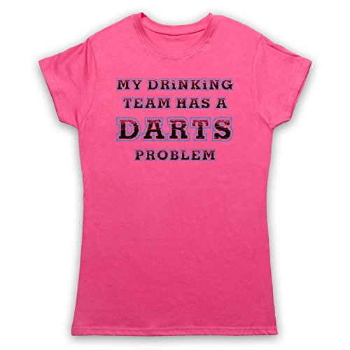 My Drinking Team Has A Darts Problem Funny Darts Slogan Damen T-Shirt Rosa