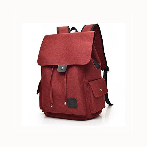 16 Hafen-faser (Backpack Laptop Rucksack 16 Zoll Mit USB aufladen Hafen , red)