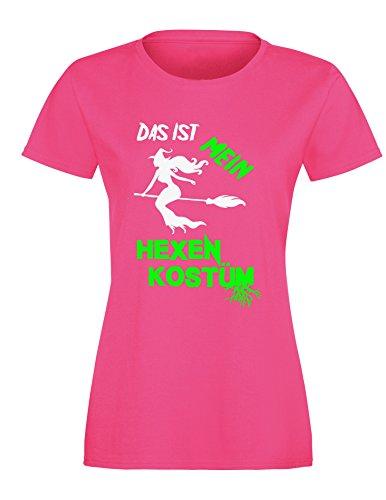 Das ist mein Hexenkostüm - Damen Rundhals T-Shirt Fuchsia/Weiss-neongruen