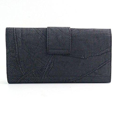 Koly_Frizione delle donne Retro borsa lunga Portafoglio Nero