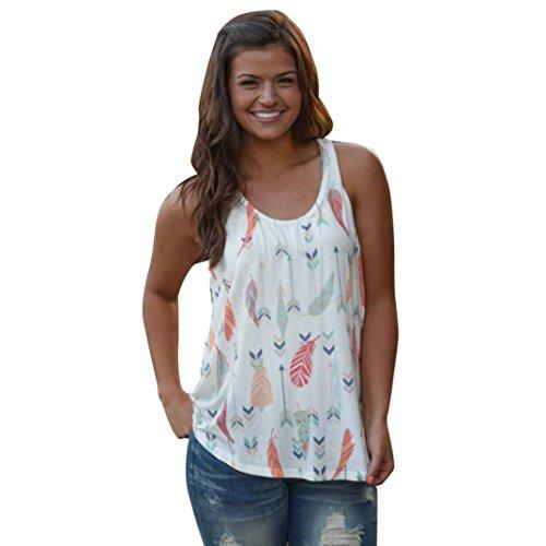 Hemd damen Kolylong® Frauen V-Ausschnitt gedruckte ärmellose Bluse Sommer lose T-Shirt Sportweste tank tops (Weiß, XL) (Gedruckt Ärmelloses Hülle)