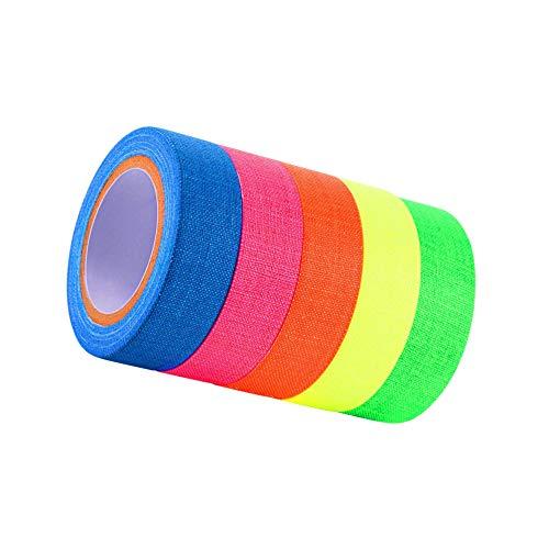 LEEQ Spike Tape Fluoreszierendes Klebeband Gaffer Tape UV Schwarzlicht Reactive Neon Tapes für Partys Kunst Basteln Dekorationen 5 Farben (5 Rollen)