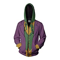 hengGuKeJiYo Anime Hoodie Sweatshirt Movie Joker Cosplay Costume Batman Clown Hoodie Jacket Coats Men Women Top