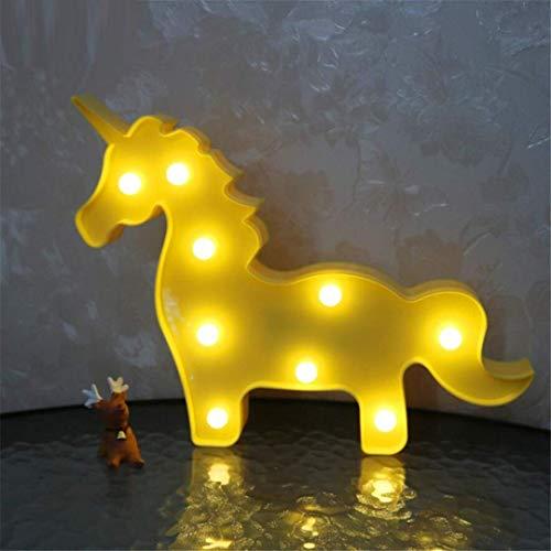 QiXian Lumière de Nuit Ins Props Jaune Licorne Tête Tir Décoratif Lumières LED Lampe de Bureau Mignon Chambre des Enfants Styling Nuit Lumière Rêve Tenture Murale