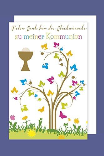 Kommunion Danksagungen Karte 5er Set Kelch Lebensbaum 5 Grußkarten C6