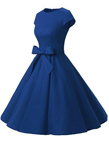 Dressystar Damen Vintage 50er Cap Sleeves Dot Einfarbig Rockabilly Swing Kleider Royalblau