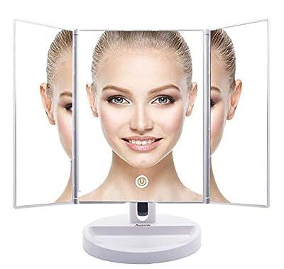 Auxmir Kosmetikspiegel mit LED Beleuchtung aus Kristallglass und ABS Kunststoff, Tischspiegel Schminkenspiegel Beleuchtet mit Blendfreier Bleuchtung für Wohnzimmer, Kosmetikstudio, Spa und Hotel