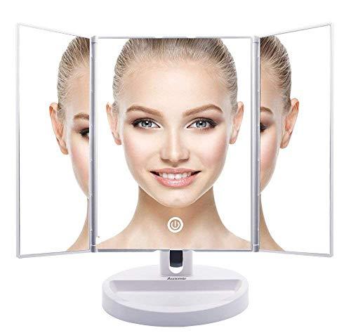 Auxent Kosmetikspiegel mit LED Beleuchtung und Touchscreen aus Kristallglass und ABS Kunststoff, Tischspiegel Schminkenspiegel Beleuchtet mit Blendfreier Bleuchtung für Wohnzimmer, Kosmetikstudio, Spa und Hotel - 2