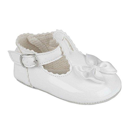Baby Pram Schuhe für eine Hochzeit Taufe oder Party - T-Bar Satinschleife Weiß Patent EU 19 (12-18 monate) (Schuhe Mädchen-patent)