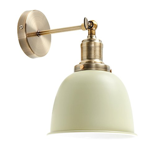 Antique style wall light with shade amazon retro style antique brass adjustable knuckle joint wall light with a gloss sage green dome shade mozeypictures Images
