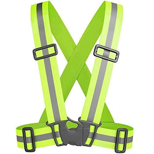 Chaleco reflectante de alta visibilidad con tirantes elásticos para seguridad running ciclismo