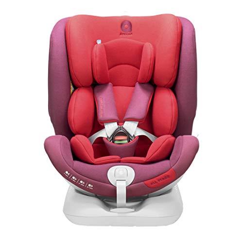 Apramo isofix seggiolino auto gruppo 0 + / 1/2/3 da 0-36kg ogni stadio all-in-baby booster bambino per nascita fino a 12 anni rosso