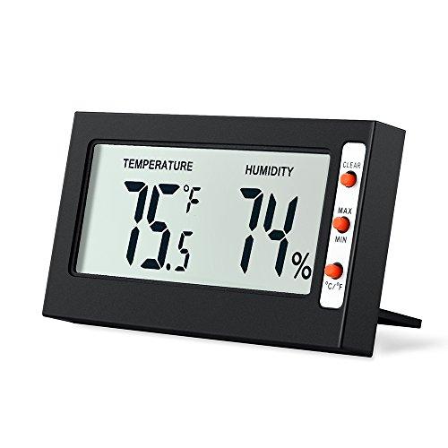 AMIR Hygrometer Thermometer, Digital Hygrometer Luftfeuchtigkeit, Mini Thermo Hygrometer, Raumthermometer, mit Genaue Messwerte und Min/Max Aufzeichnungen, für Babyzimmer, Büro (Schwarz)