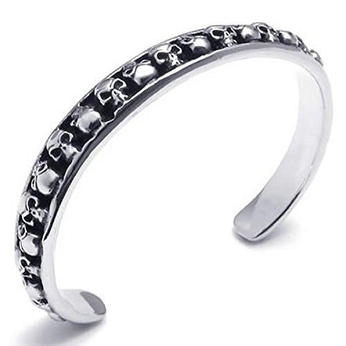 MENDINO pulsera de acero inoxidable para hombre Vintage Gótico Calavera puño pulsera negro y plata con 1x bolsa de terciopelo