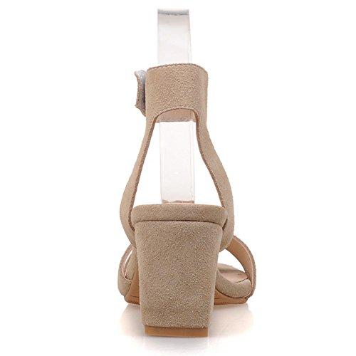 Damen Open Toe Sandalen Fellsamt Blockabsatz Knöchelriemchen Slingback Beige