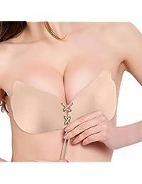 Frauen Trägerloser demi-bh, Push-Up NuBra mit Tunnelzug, Sexy Silikon unsichtbar BH, Rückenfreier Bra, Rutschfest für Brautkleider, Ballkleider, Bikinis und Low-Cut-Tops